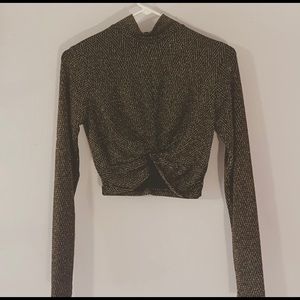 Glittery Gold and Black Long Sleeve Crop Top